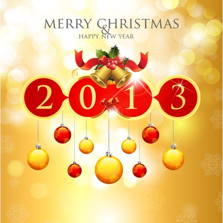 Merry Christmas   Happy New Year 2013 Stock Vector - 12493064