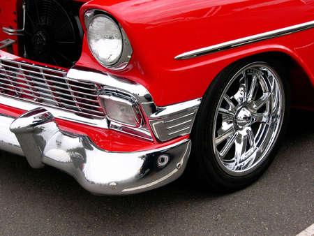 restored: A classic red restored muscle car.