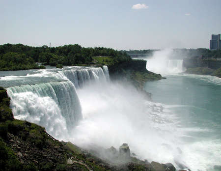 gush: A view of the flowing water of Niagra Falls. Stock Photo