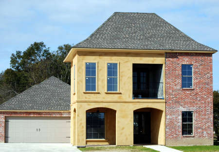constructed: A newly constructed home with a Spanish touch. Stock Photo