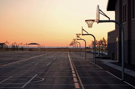 center court: School Basketball Courts Stock Photo