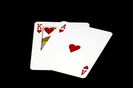 dealt: Ace and King of Hearts Stock Photo