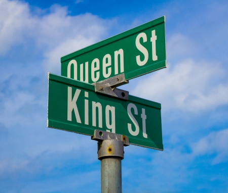 king street: Sign for King and Queen street