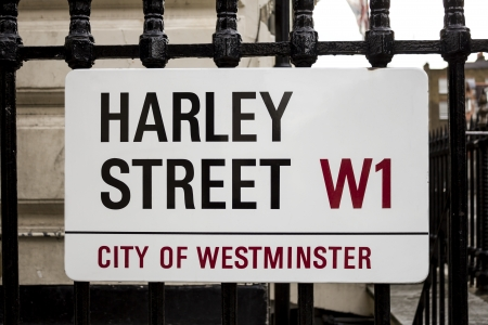 London - 6 August 2013  A street sign for Harley Street in Central London