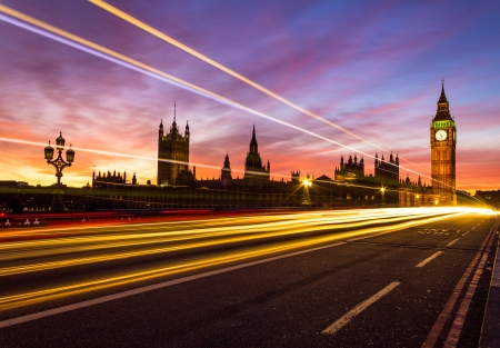 light trail: Westminster and light trail