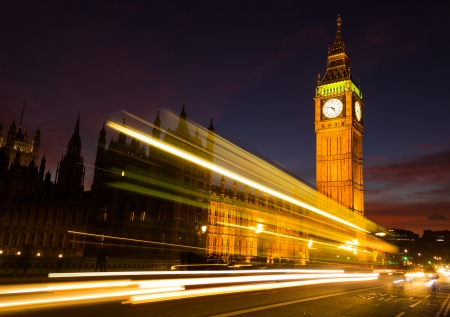 light trail: Big Ben and light trail