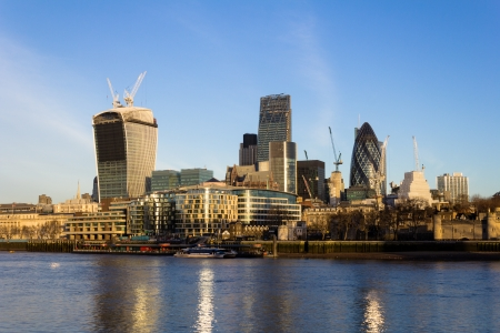 distant work: London City in the Morning Stock Photo