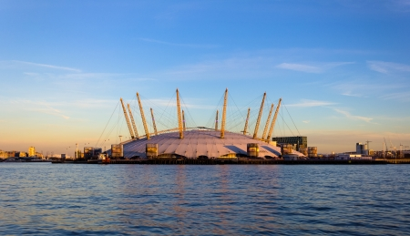 music venue: London, UK - January 21, 2014  The O2 Arena in London at sunset