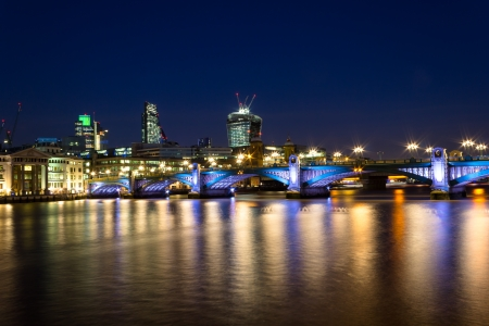 Southwark Bridge Nightscape and the City photo