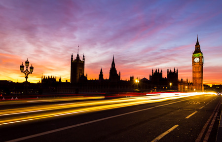 light trail: Westminster and Light Trail Stock Photo