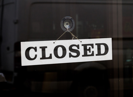 closed sign: Closed Sign on a door