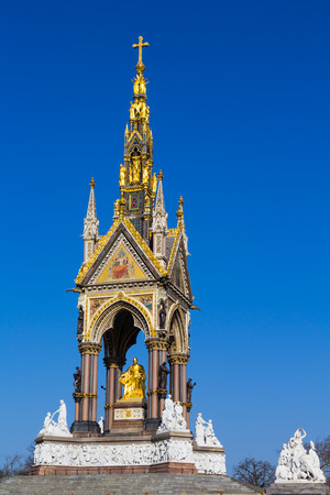 LONDON, UK - 9TH MARCH 2014  The Albert Memorial in London during the day from afar  People can be seen beside the memorial