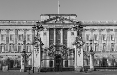 LONDON, UK - 9TH MARCH 2014  The front of Buckingham Palce in the morning at sunrise with nobody around in Black and White