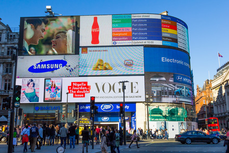 place of interest: LONDON, UK - 16TH MARCH 2014  A view towards the Electronic billboards in Picadilly Circus with people outside milling around