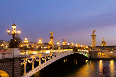 place of interest: Pont Alexandre III in Paris at dusk