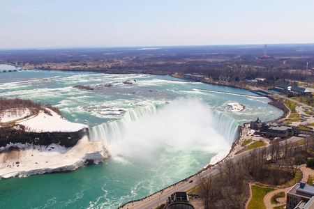 horseshoe falls: High Angle view of the Horseshoe Falls at Niagara Falls Stock Photo