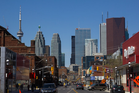 TORONTO, CANADA - 11TH MAY 2014  A view down Front Street towards Downtown Toronto during the day