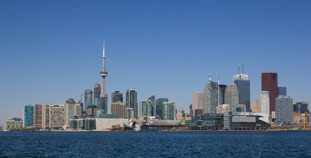 TORONTO, CANADA- 11TH MAY 2014  A view of downtown Toronto from the East from across Lake Ontario