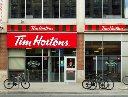 TORONTO, CANADA- 19TH MAY 2014  The outside of a Tim Hortons Coffee Shop during the day