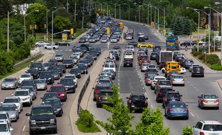 shephard: TORONTO, CANADA - JUNE 13, 2014  Heavy Traffic on Shephard Avenue road in Toronto Editorial