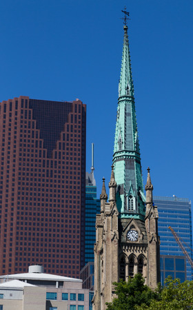 TORONTO, CANADA - 22 JUNE 2014: The top of the Tower on St James Church in Central Toronto