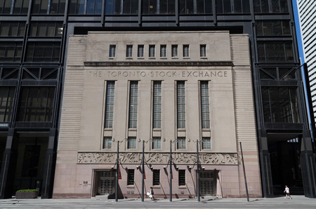 TORONTO, CANADA - 22 JUNE 2014: The outside of the Toronto Design Exchange building located in the historic  Stock Exchange building