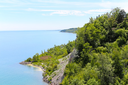 High view from the top of Scarborough Bluffs in Toronto photo