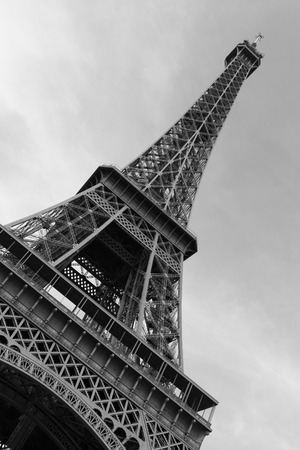 wonky: Low view of the Eiffel Tower Black and White