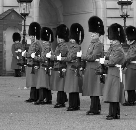 LONDON, UK - 2ND FEBRUARY 2014: Horse Guards outside Buckingham Palace performing drills