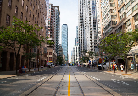 september 9th: TORONTO, CANADA - 9TH SEPTEMBER 2014: View up Bay Street in downtown Toronto during the day
