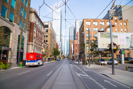 september 9th: TORONTO, CANADA - 9TH SEPTEMBER 2014: A view down Adelaide Street East during the day Editorial