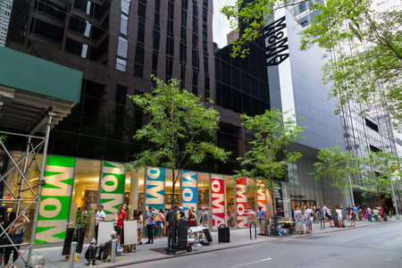 NEW YORK CITY, USA -  30TH AUGUST 2014: The outside of the Moma Museum in central New York. People can be seen outside Editorial