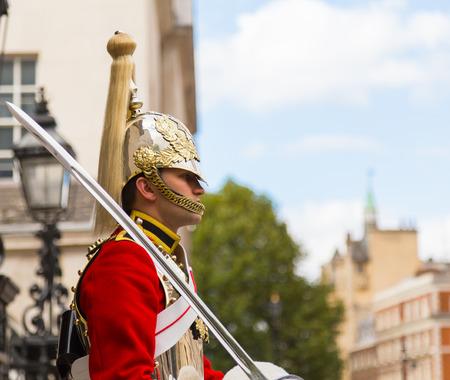 LONDON, UK - 26TH SEPTEMBER 2014: A Queens Guardsman on Horseback near Horse Guards Parade