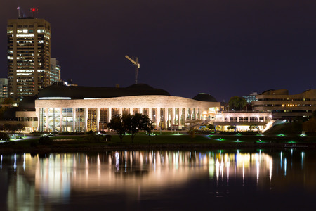 civilisation: HULL, CANADA -  12TH OCTOBER 2014: A view of the Canadian Museum of Civilisation from across Ottawa River Editorial