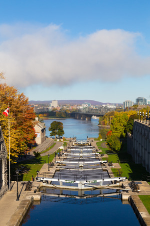 rideau canal: OTTAWA, CANADA -  12TH OCTOBER 2014: Ottawa Locks along the Rideau Canal during the day