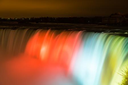 horseshoe falls: NIAGARA FALLS, CANADA - 3RD NOVEMBER 2014: Closeup to the Horseshoe Falls at night showing the lights on the Waterfall