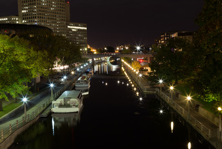 rideau canal: The River Canal in Ottawa at night