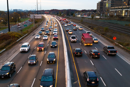congestion: TORONTO, CANADA - 11TH NOVEMBER 2014: A view of traffic on the Gardiner Express at rush hour. Editorial