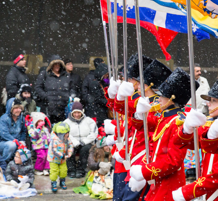 participants: TORONTO, CANADA - 16TH NOVEMBER 2014: Participants taking part in the Santa Clause Parade in Toronto