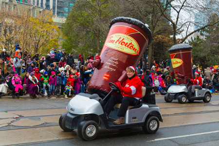 TORONTO, CANADA - 16TH NOVEMBER 2014: A Tim Hortons Buggy taking part in the Santa Claus Parade in Toronto