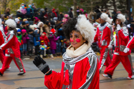 participants: TORONTO, CANADA - 16TH NOVEMBER 2014: Participants taking part in the Santa Claus Parade in Toronto
