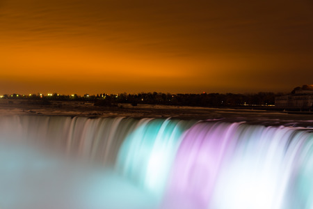 horseshoe falls: NIAGARA FALLS, CANADA - 3RD NOVEMBER 2014: Closeup to the Horseshoe Falls at night