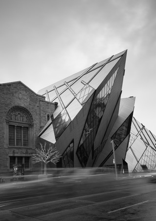 TORONTO, CANADA - 13TH NOVEMBER 2014: The outside of the Royal Ontario Museum during the day taken with a long exposure.