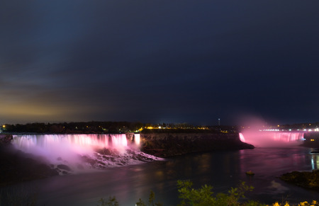 horseshoe falls: NIAGARA FALLS, CANADA - 3RD NOVEMBER 2014: The American and Horseshoe Falls at night