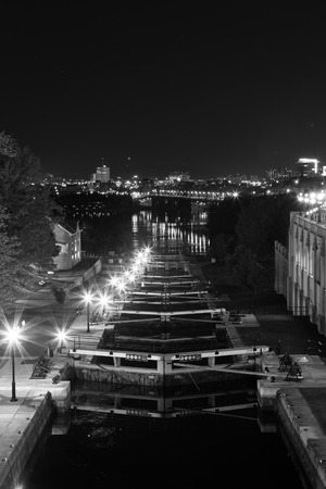 rideau canal: OTTAWA, CANADA -  12TH OCTOBER 2014: Ottawa Locks along the Rideau Canal at night Editorial