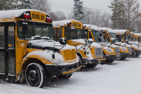 TORONTO, CANADA - 11TH DECEMBER 2014: Toronto School Bus's parked up during the snow