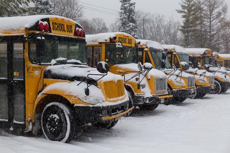 2014 年 12 月 11 日トロント、カナダ: トロントの学校のバスの駐車して、雪の中 報道画像