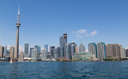 TORONTO, CANADA - 27TH JULY 2014: Part of Toronto Waterfront during the day. Offices, condos and landmarks can be seen.