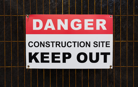 Closeup to a Danger Construction Site Keep Out Sign photo