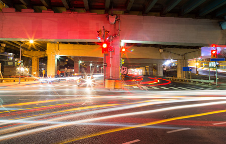 car lots: Traffic on an underpass in Toronto at night